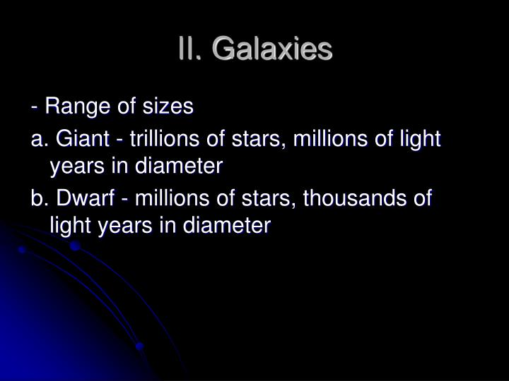 II. Galaxies