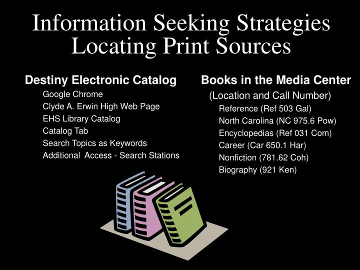 Information seeking strategies locating print sources