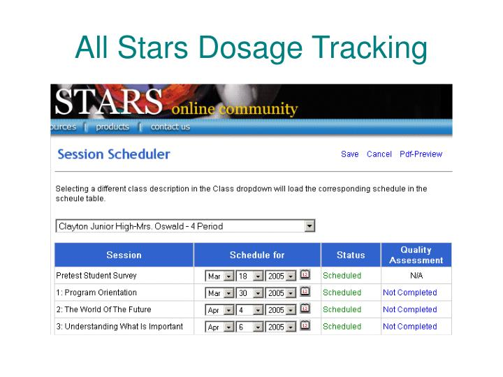 All Stars Dosage Tracking