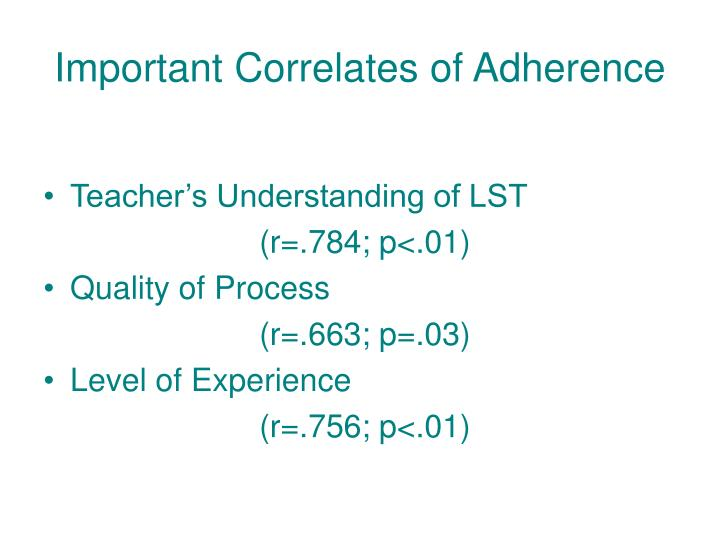 Important Correlates of Adherence