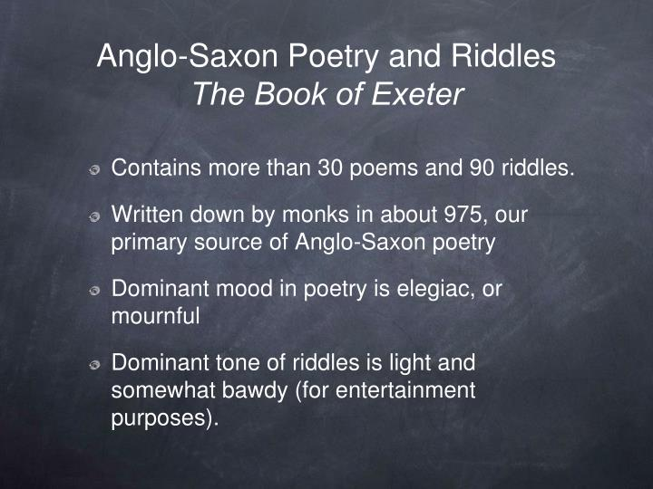 Anglo-Saxon Poetry and Riddles