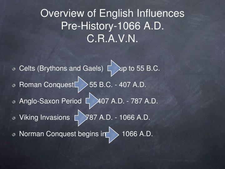 Overview of english influences pre history 1066 a d c r a v n