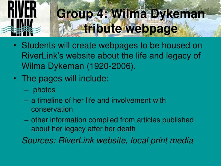 Group 4: Wilma Dykeman