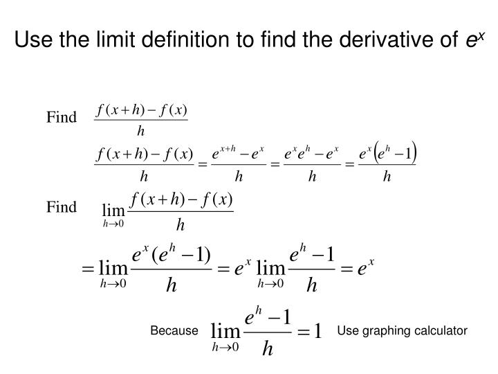 Use the limit definition to find the derivative of