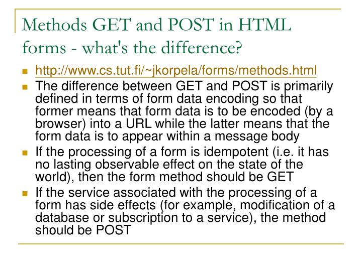Methods GET and POST in HTML forms - what's the difference?