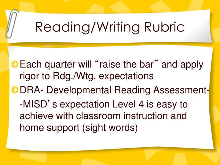 Reading/Writing Rubric