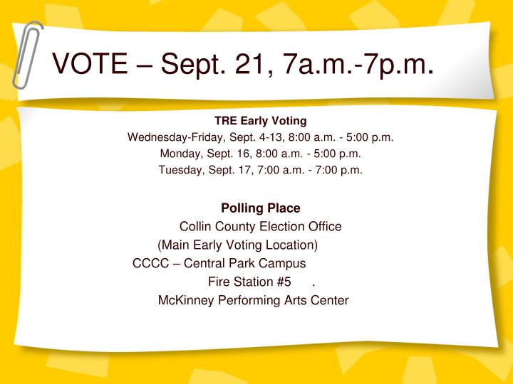 VOTE – Sept. 21, 7a.m.-7p.m