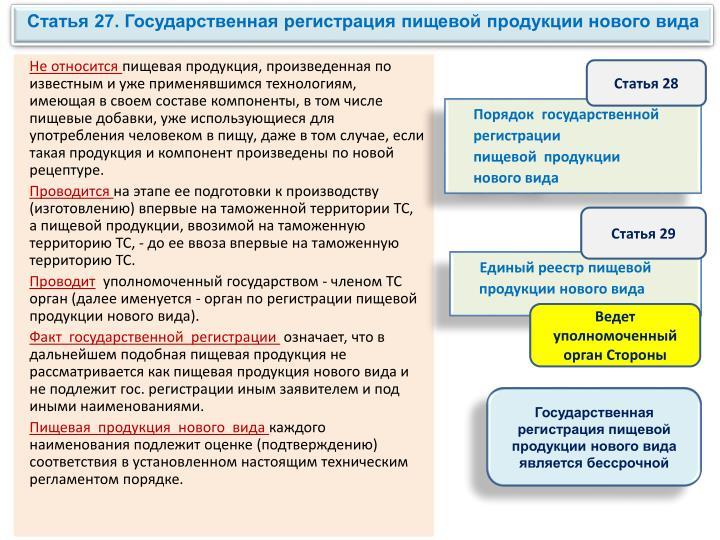 Статья 27. Государственная регистрация пищевой продукции нового вида