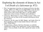 exploring the elements of drama in act i of death of a salesman p 872