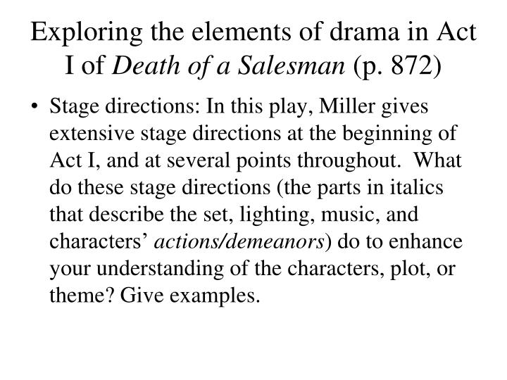 Exploring the elements of drama in act i of death of a salesman p 8721
