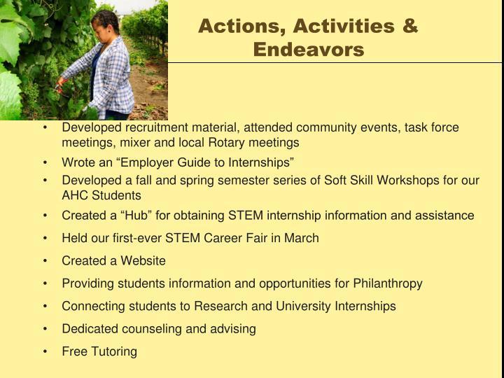 Actions, Activities & Endeavors