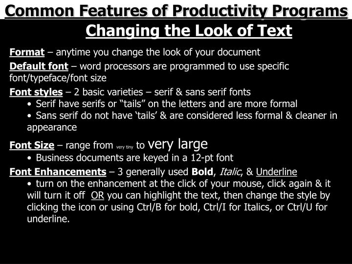 Common Features of Productivity Programs