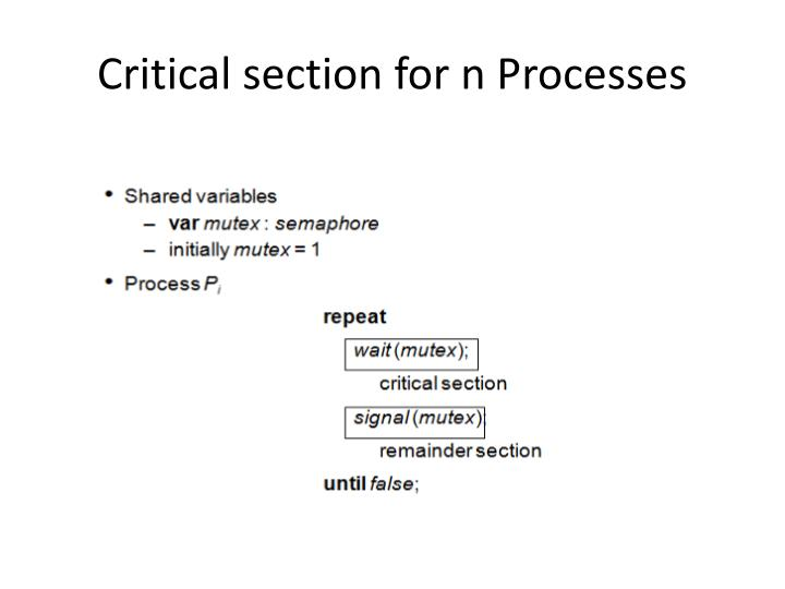 Critical section for n Processes