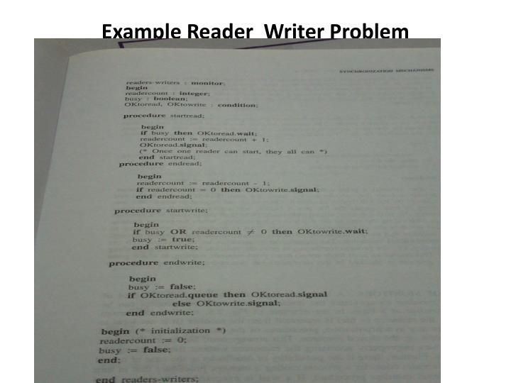 Example Reader  Writer Problem