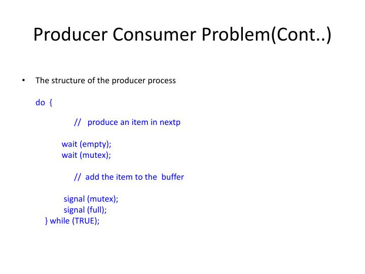 Producer Consumer Problem(Cont..)