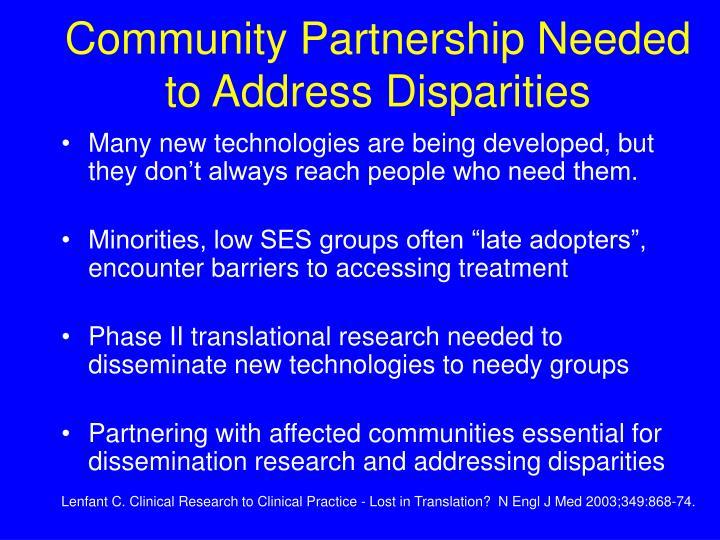 Community Partnership Needed to Address Disparities