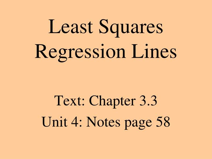 Least squares regression lines
