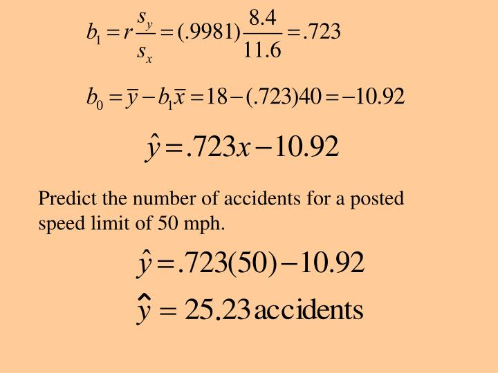 Predict the number of accidents for a posted speed limit of 50 mph.