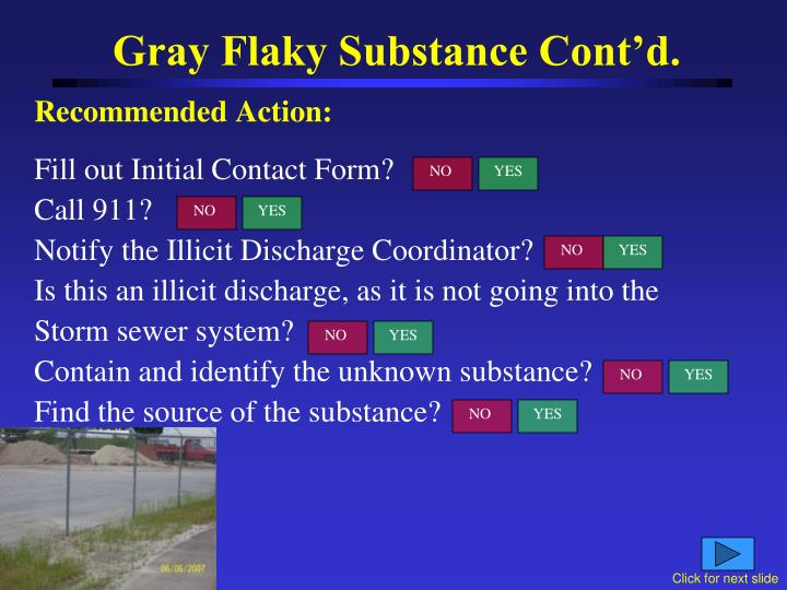 Gray Flaky Substance Cont'd.