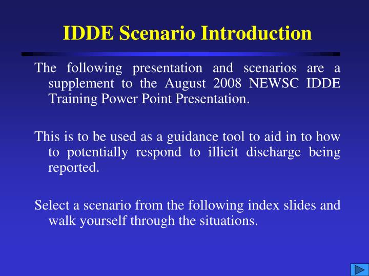 Idde scenario introduction