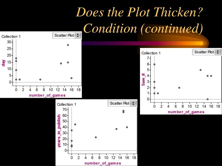 Does the Plot Thicken? Condition (continued)