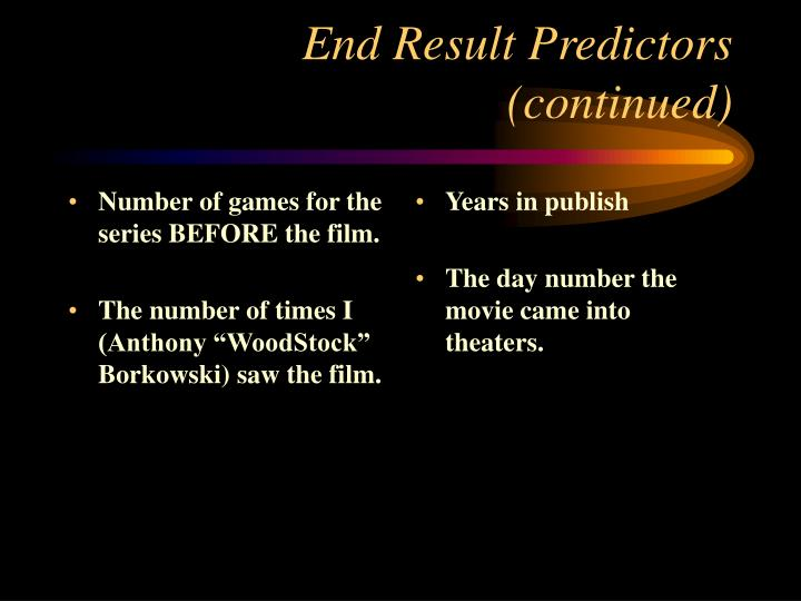 Number of games for the series BEFORE the film.