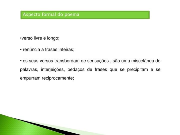 Aspecto formal do poema