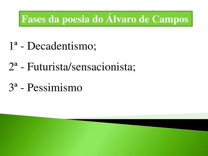 Fases da poesia do Álvaro de Campos