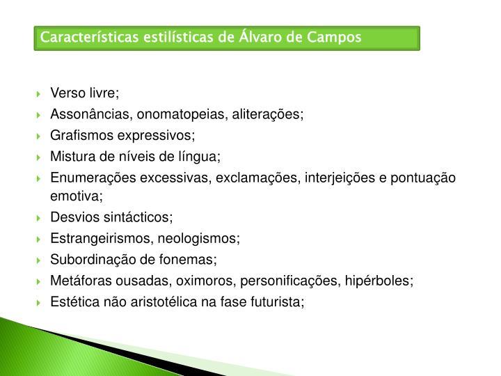 Características estilísticas de Álvaro de Campos
