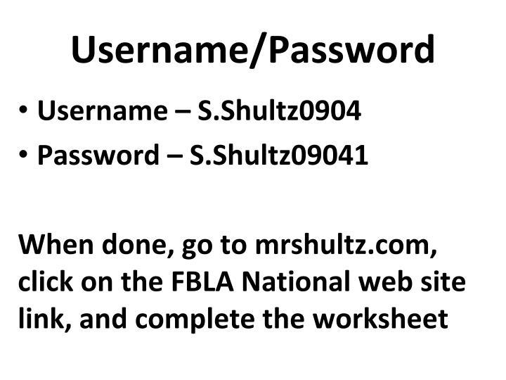 Username/Password
