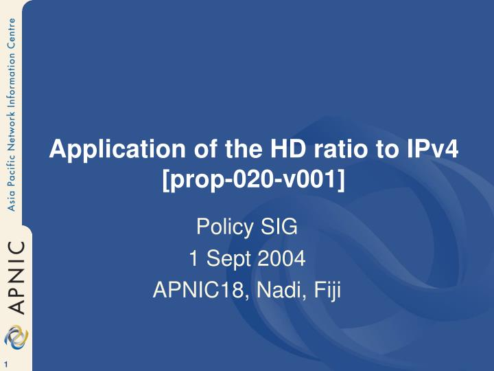 Application of the HD ratio to IPv4