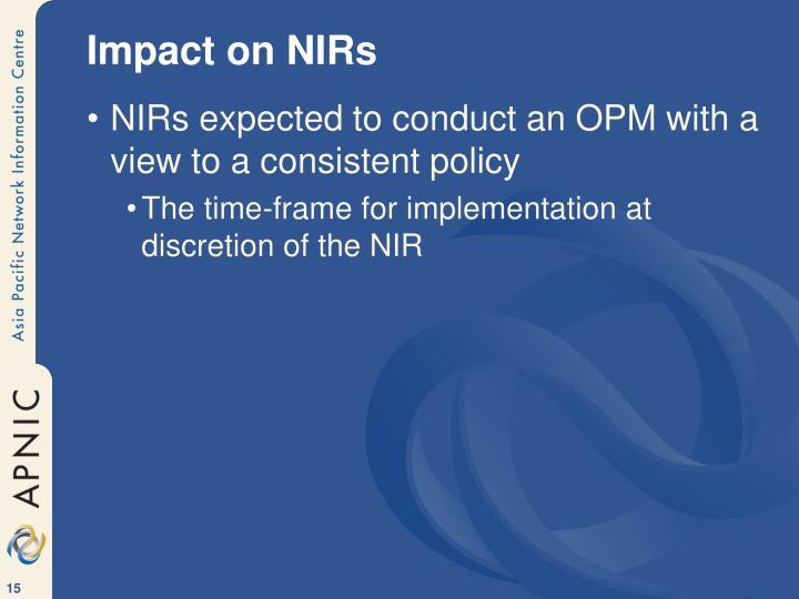 Impact on NIRs