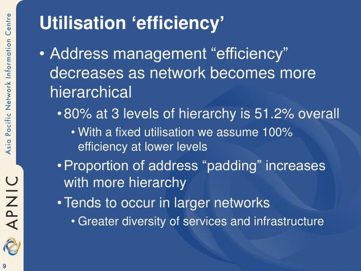 Utilisation 'efficiency'