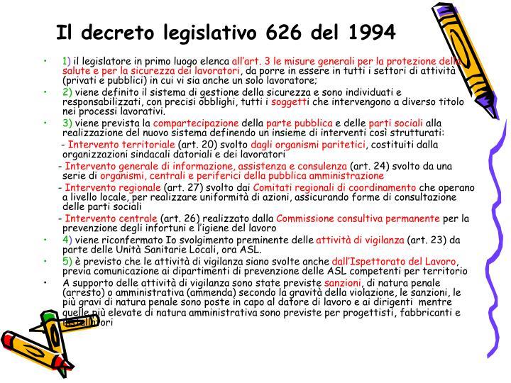 Il decreto legislativo 626 del 1994