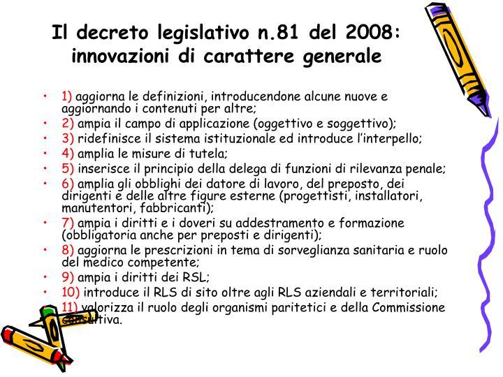 Il decreto legislativo n.81 del 2008: