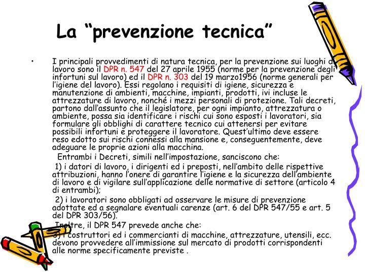 """La """"prevenzione tecnica"""""""