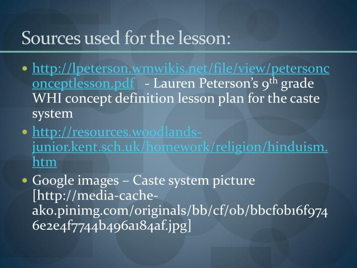 Sources used for the lesson:
