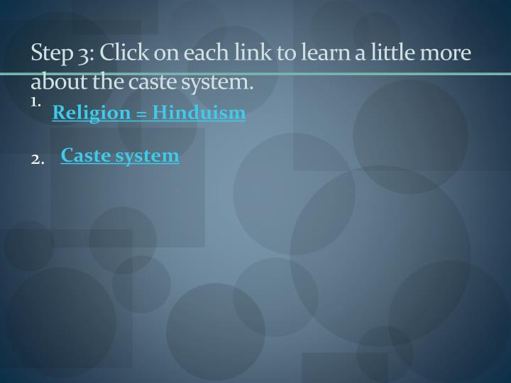 Step 3: Click on each link to learn a little more about the caste system.