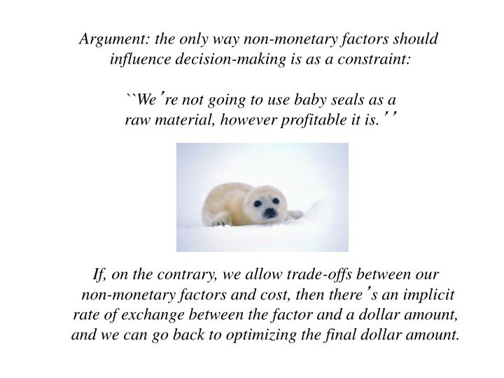 Argument: the only way non-monetary factors should