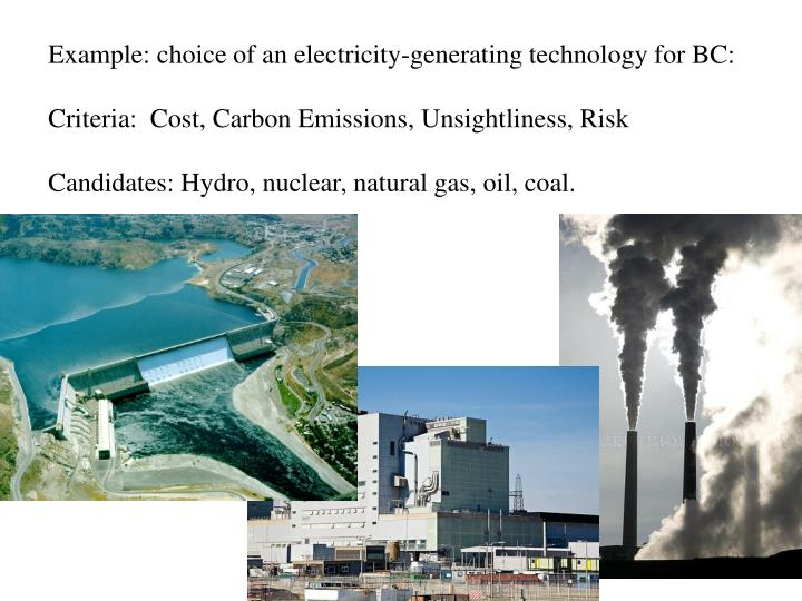 Example: choice of an electricity-generating technology for BC: