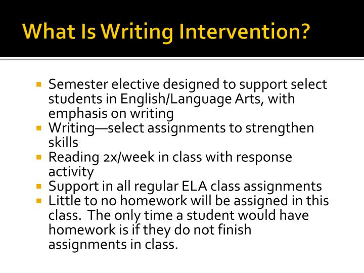 What Is Writing Intervention?