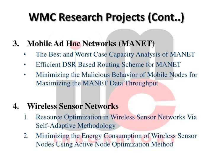 WMC Research Projects (Cont..)