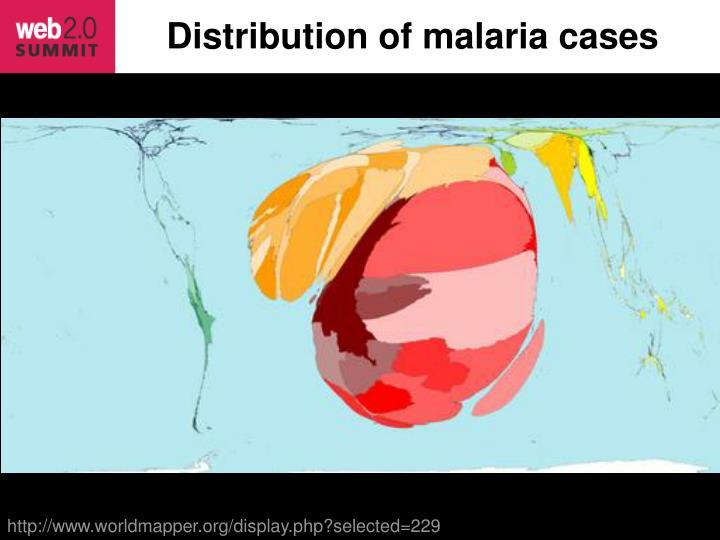 Distribution of malaria cases
