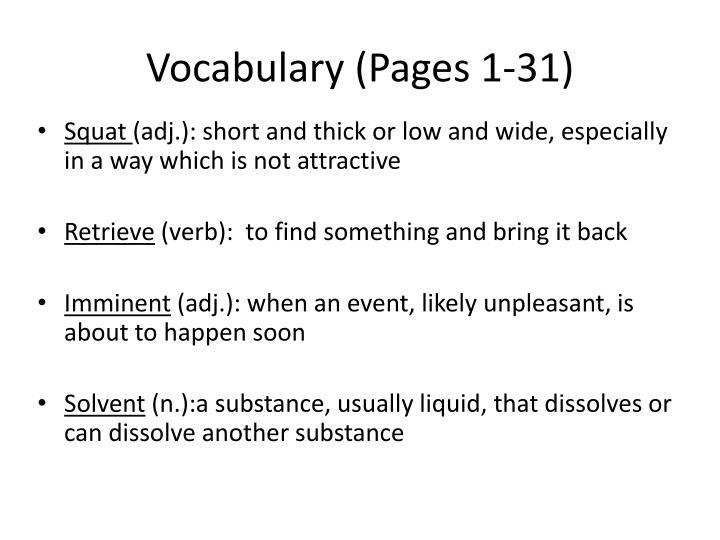 Vocabulary (Pages 1-31)