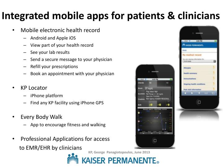 Integrated mobile apps for patients & clinicians