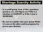 shortage scarcity activity