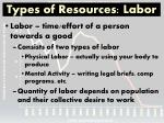 types of resources labor