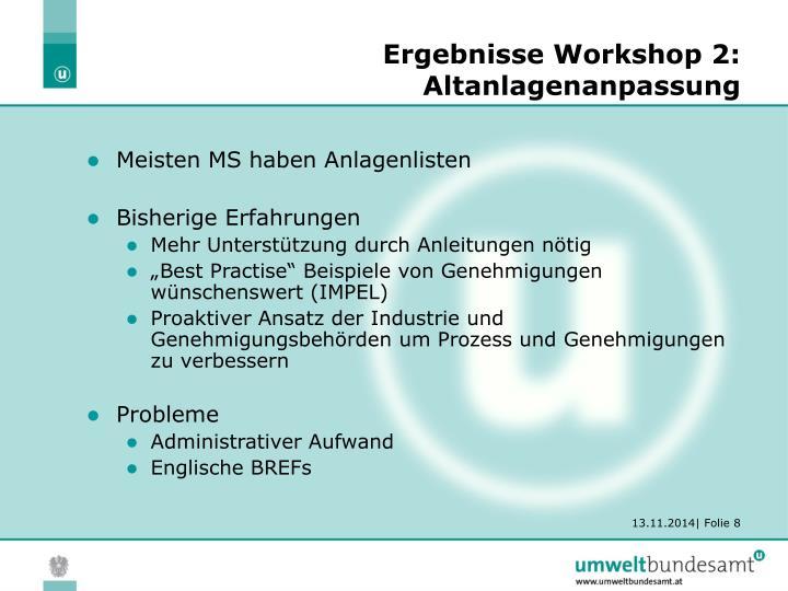Ergebnisse Workshop 2: Altanlagenanpassung
