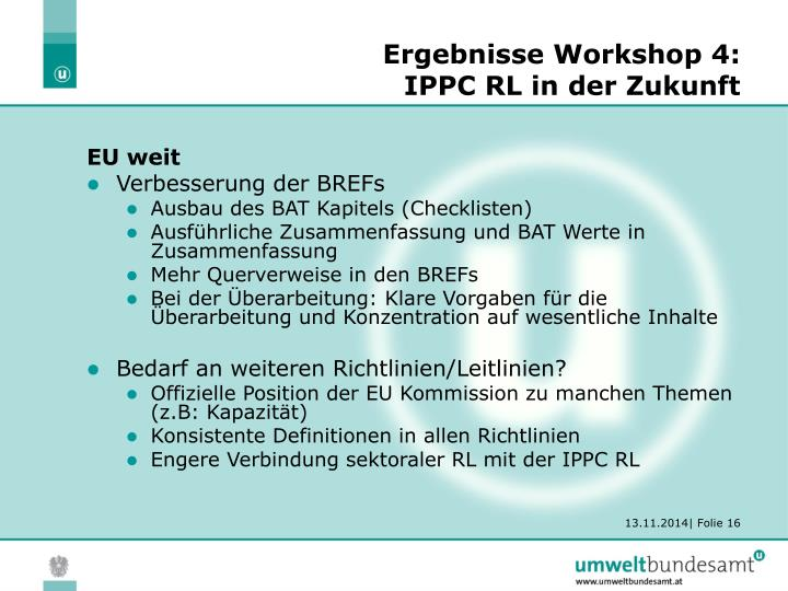 Ergebnisse Workshop 4: