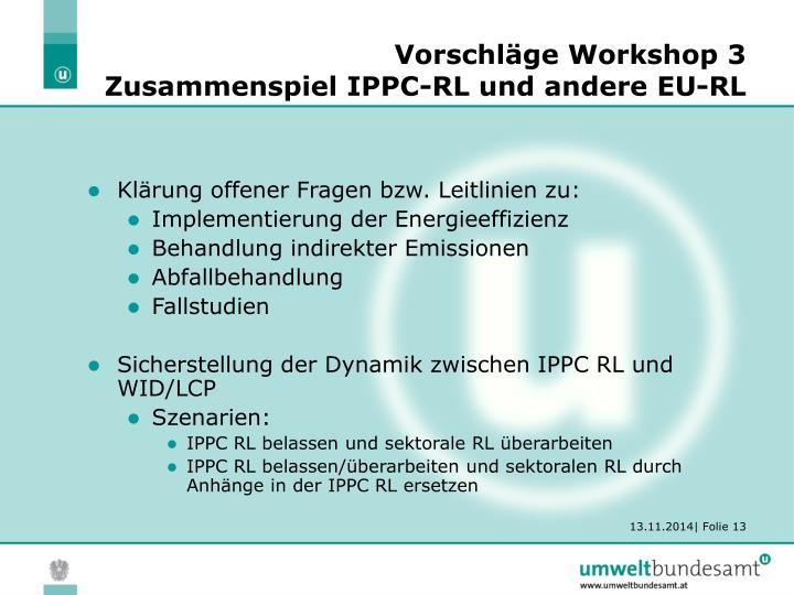 Vorschläge Workshop 3